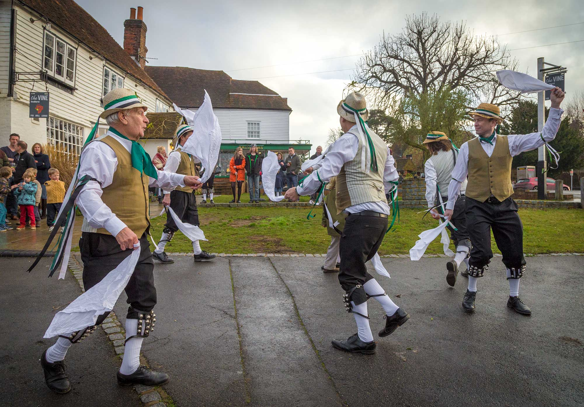 Weald of Kent Morris dance outside The Vine, Goudhurst